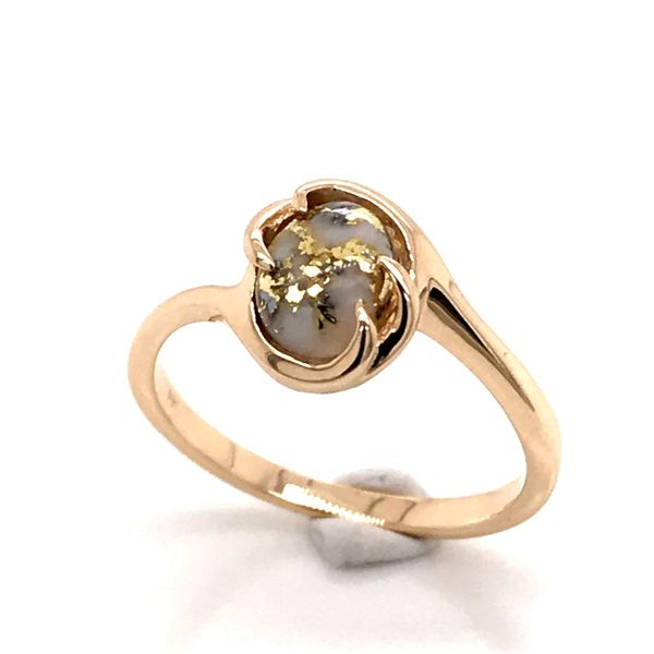 14K Yellow Gold Ring w/ Gold Quartz- Ring size 7.25 Bluestone Jewelry Tahoe City, CA