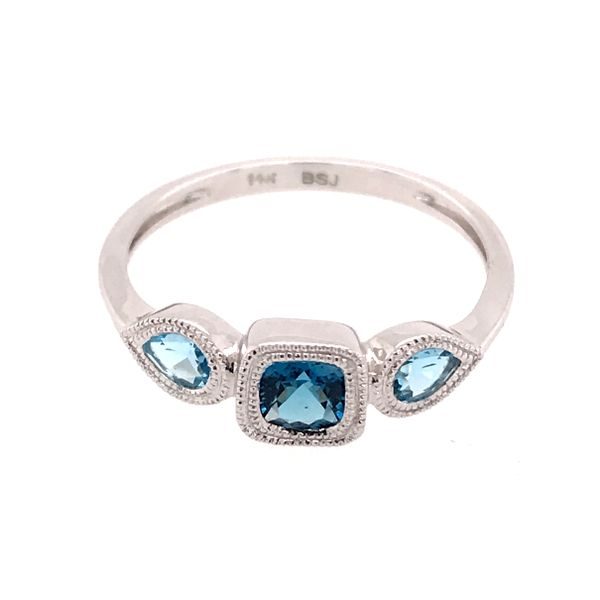 14kt White Gold London Blue and Swiss Blue Topaz Ring Image 2 Bluestone Jewelry Tahoe City, CA