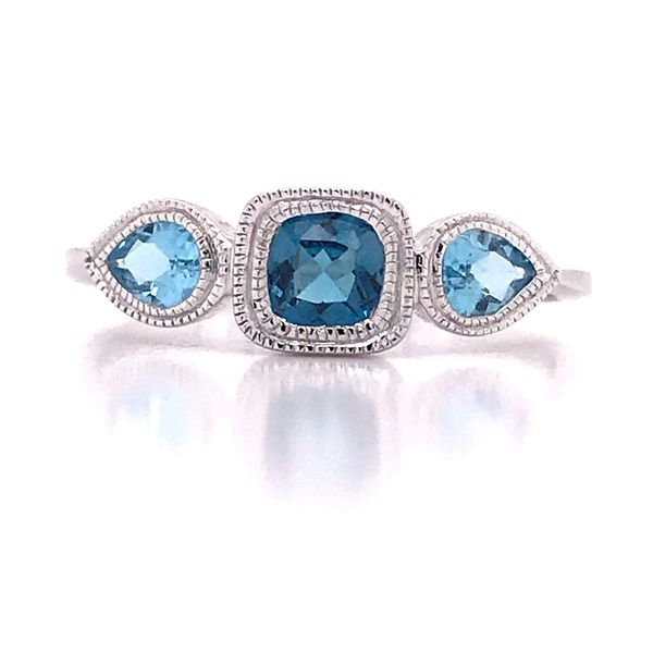 14kt White Gold London Blue and Swiss Blue Topaz Ring Image 4 Bluestone Jewelry Tahoe City, CA