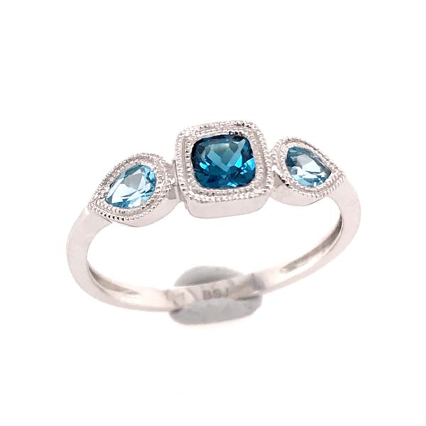 14kt White Gold London Blue and Swiss Blue Topaz Ring Bluestone Jewelry Tahoe City, CA