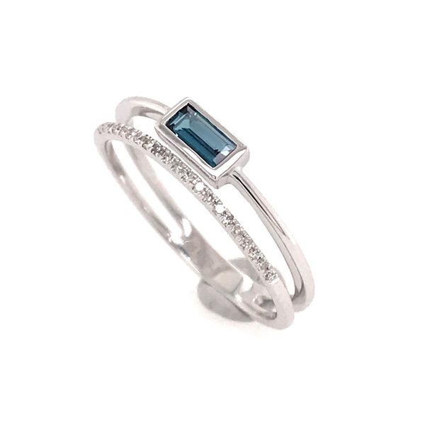 14 Karat White Gold Topaz and Diamond Ring Image 2 Bluestone Jewelry Tahoe City, CA