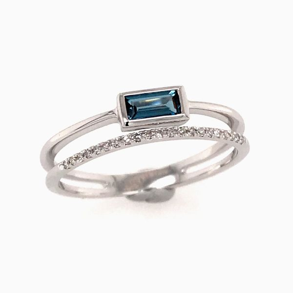 14 Karat White Gold Topaz and Diamond Ring Bluestone Jewelry Tahoe City, CA