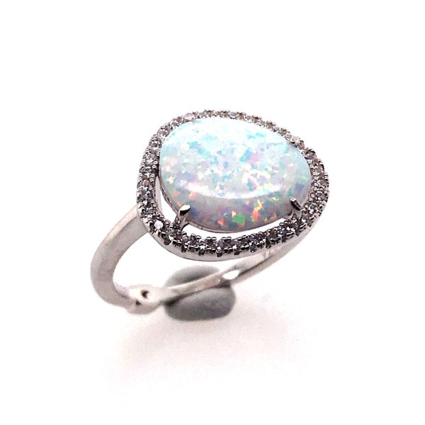 Silver Lab Created Fire & Snow Opal Ring- Size 6 Image 2 Bluestone Jewelry Tahoe City, CA