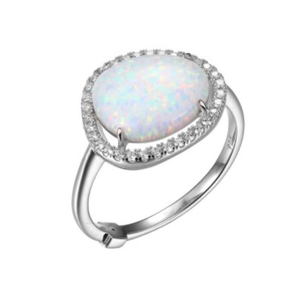 Silver Lab Created Fire & Snow Opal Ring- Size 6 Bluestone Jewelry Tahoe City, CA