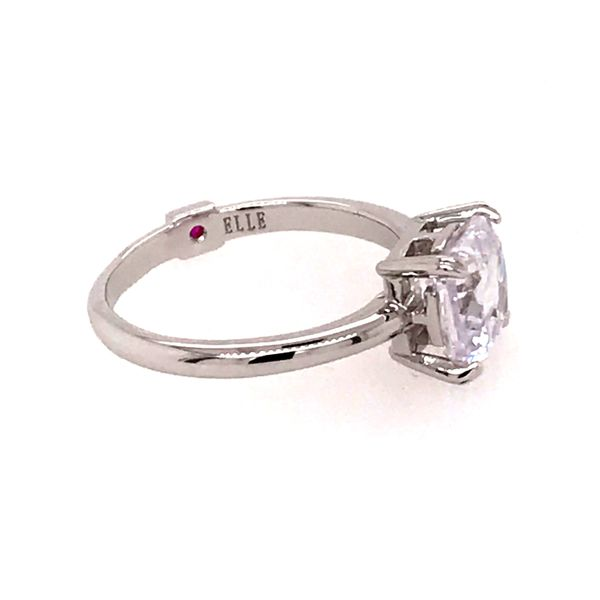 Sterling Silver w/ Rhodium Plating Ring w/ CZ & Ruby Size 6 Image 4 Bluestone Jewelry Tahoe City, CA