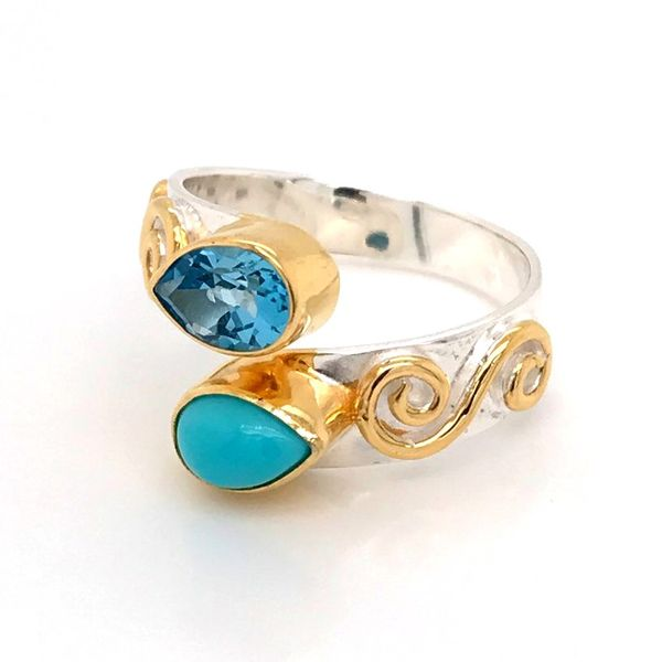 Silver & 22 Karat Yellow Gold Vermeil Ring with Turquoise and Topaz Image 2 Bluestone Jewelry Tahoe City, CA