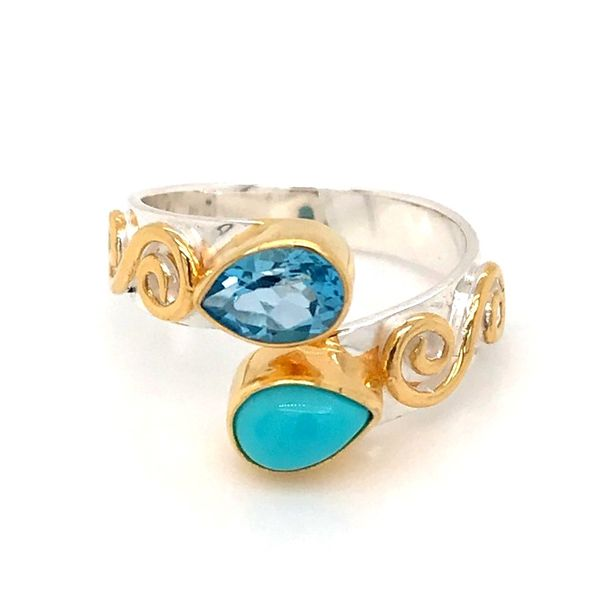 Silver & 22 Karat Yellow Gold Vermeil Ring with Turquoise and Topaz Bluestone Jewelry Tahoe City, CA