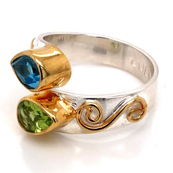 Silver and Gold Vermeil Ring with Peridot and Topaz- Sizee 6 Image 2 Bluestone Jewelry Tahoe City, CA