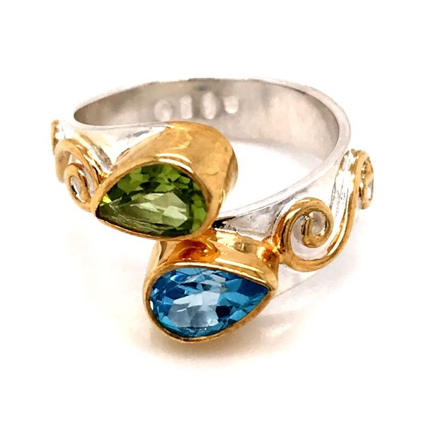 Silver and Gold Vermeil Ring with Peridot and Topaz- Sizee 6 Bluestone Jewelry Tahoe City, CA