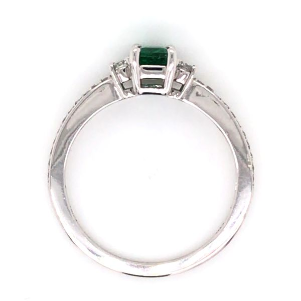 14K White Gold Ring w/ a 0.48ct Emerald & Round Diamonds Image 4 Bluestone Jewelry Tahoe City, CA