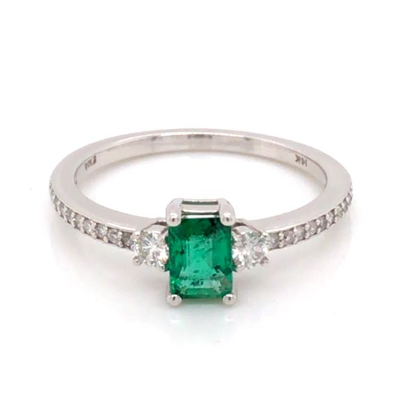 14K White Gold Ring w/ a 0.48ct Emerald & Round Diamonds Bluestone Jewelry Tahoe City, CA