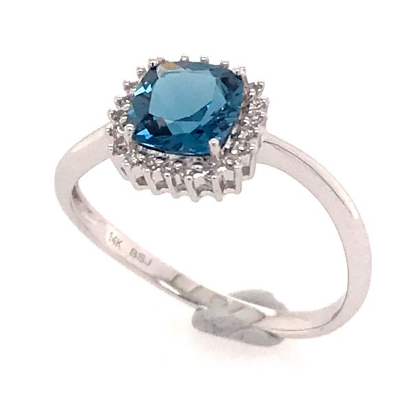 14 Karat White Gold Ring with a London Blue Topaz and Diamonds Image 2 Bluestone Jewelry Tahoe City, CA