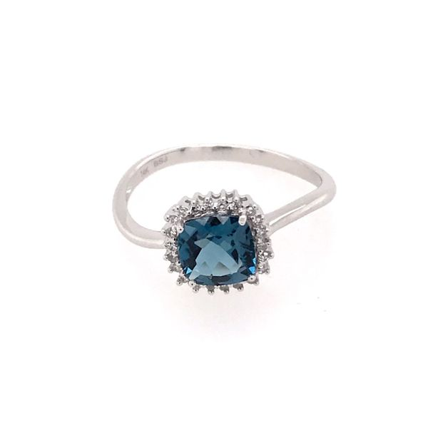 14 Karat White Gold Ring with a London Blue Topaz and Diamonds Image 3 Bluestone Jewelry Tahoe City, CA