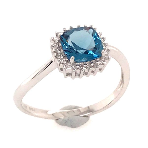 14 Karat White Gold Ring with a London Blue Topaz and Diamonds Bluestone Jewelry Tahoe City, CA