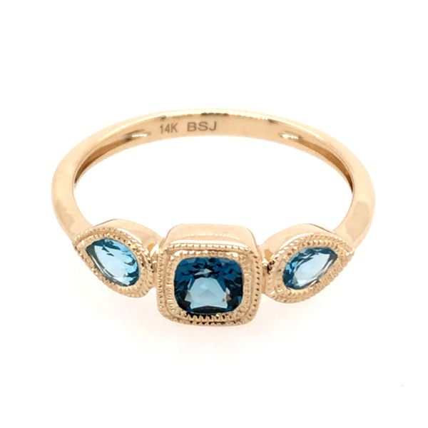14kt Yellow Gold London Blue and Swiss Blue Topaz Ring Image 2 Bluestone Jewelry Tahoe City, CA