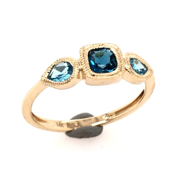 14kt Yellow Gold London Blue and Swiss Blue Topaz Ring Bluestone Jewelry Tahoe City, CA
