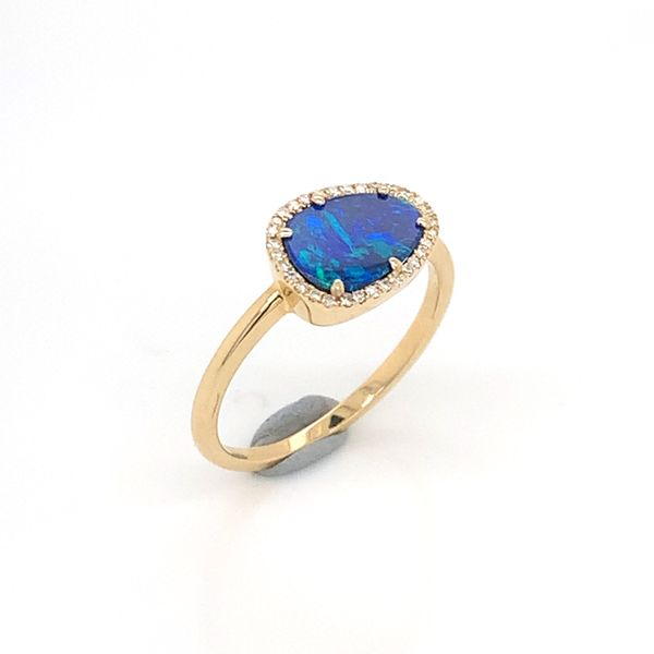 14K Yellow Gold Ring w/ Australian Black Opal & Diamonds Image 2 Bluestone Jewelry Tahoe City, CA