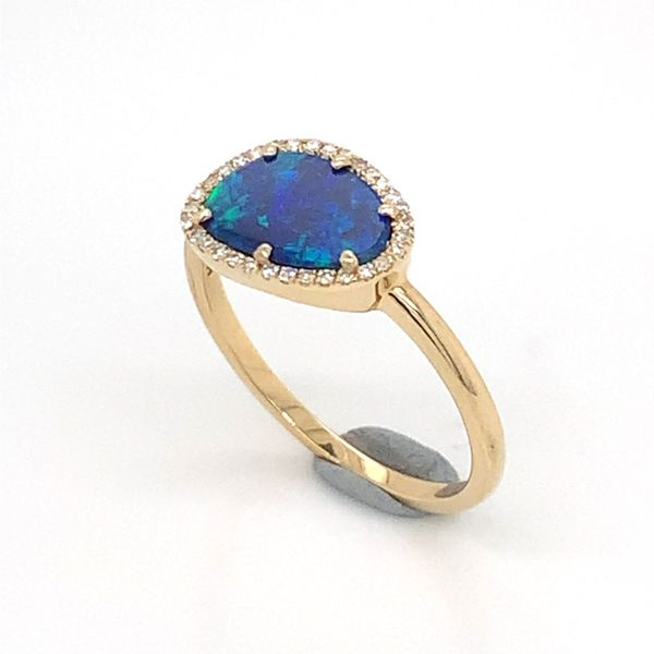 14K Yellow Gold Ring w/ Australian Black Opal & Diamonds Image 3 Bluestone Jewelry Tahoe City, CA