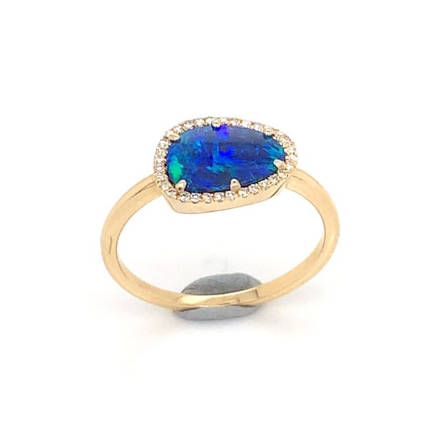 14K Yellow Gold Ring w/ Australian Black Opal & Diamonds Bluestone Jewelry Tahoe City, CA