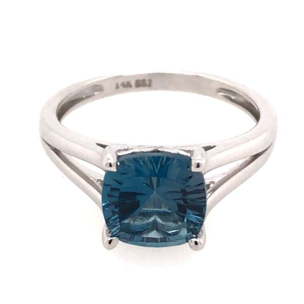 14 Karat White Gold Ring with London Blue Topaz- Size 6 Image 3 Bluestone Jewelry Tahoe City, CA