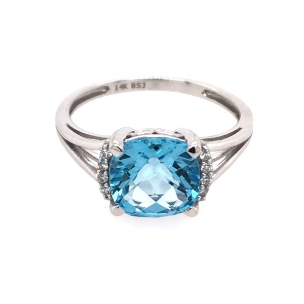14 Karat White Gold Ring with Blue Topaz and Diamonds- Size 7.5 Image 2 Bluestone Jewelry Tahoe City, CA