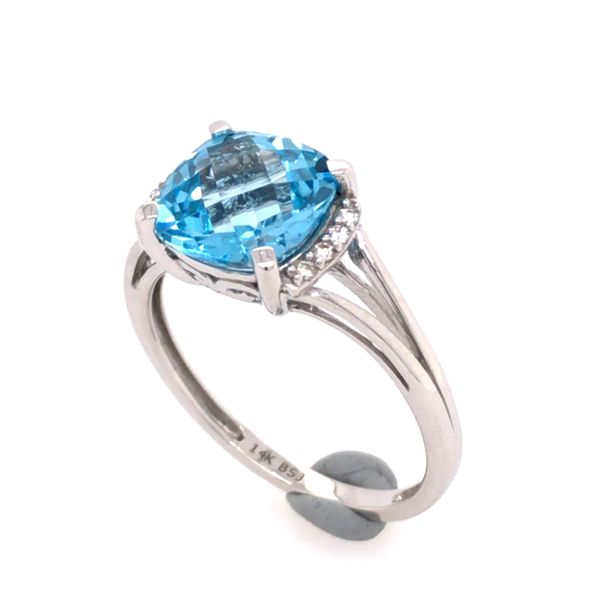 14 Karat White Gold Ring with Blue Topaz and Diamonds- Size 7.5 Image 3 Bluestone Jewelry Tahoe City, CA