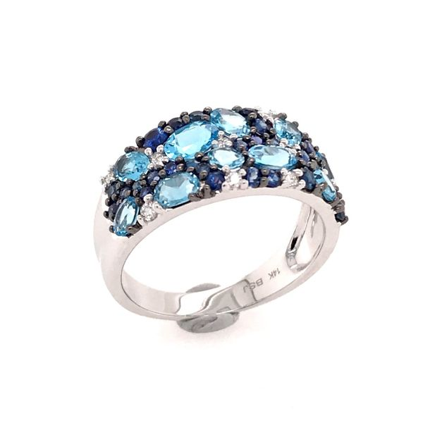 14 Karat White Gold Ring with Sky Blue Topazs, Blue Sapphires and Diamonds Image 2 Bluestone Jewelry Tahoe City, CA