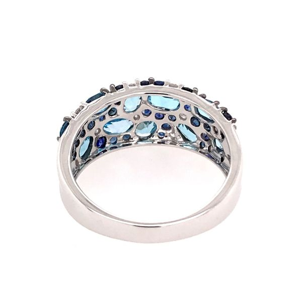 14 Karat White Gold Ring with Sky Blue Topazs, Blue Sapphires and Diamonds Image 3 Bluestone Jewelry Tahoe City, CA