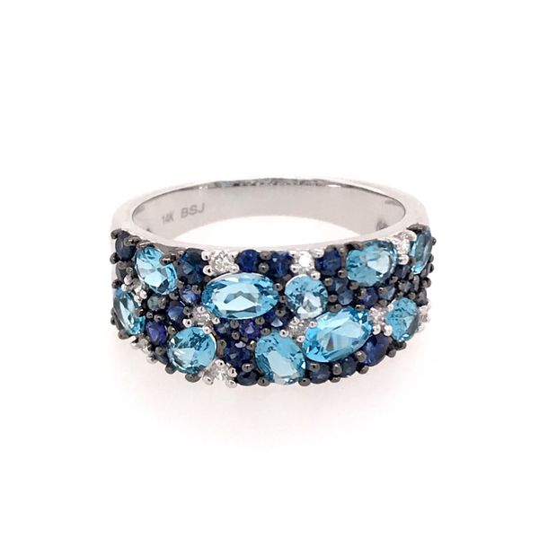 14 Karat White Gold Ring with Sky Blue Topazs, Blue Sapphires and Diamonds Bluestone Jewelry Tahoe City, CA