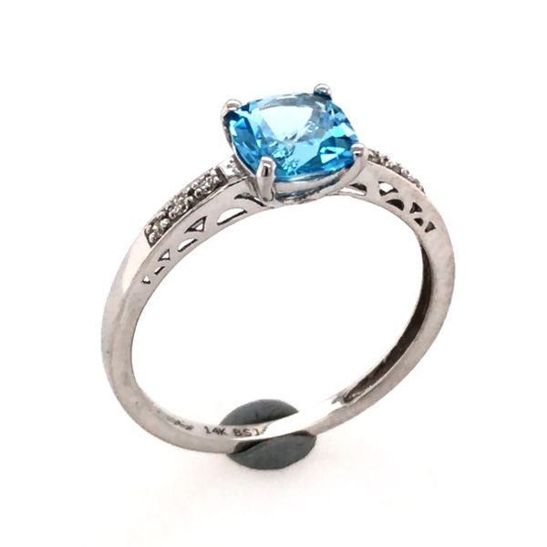 14 Karat White Gold Ring with a Blue Topaz and Diamonds- Size 7.5 Image 2 Bluestone Jewelry Tahoe City, CA