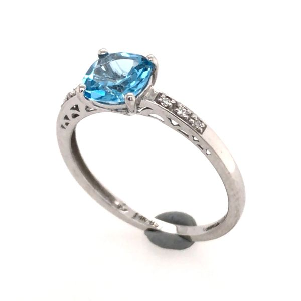 14 Karat White Gold Ring with a Blue Topaz and Diamonds- Size 7.5 Image 3 Bluestone Jewelry Tahoe City, CA
