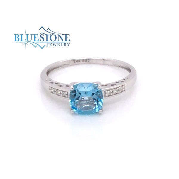 14 Karat White Gold Ring with a Blue Topaz and Diamonds- Size 7.5 Bluestone Jewelry Tahoe City, CA