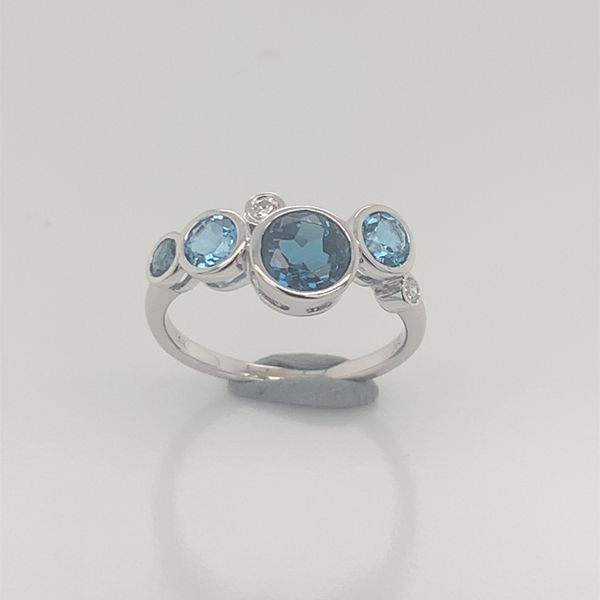 14k White Gold Topaz and Diamond Ring- Size 6 Image 3 Bluestone Jewelry Tahoe City, CA