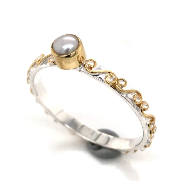 Silver & Gold Ring with Pearl- Size 7 Image 2 Bluestone Jewelry Tahoe City, CA