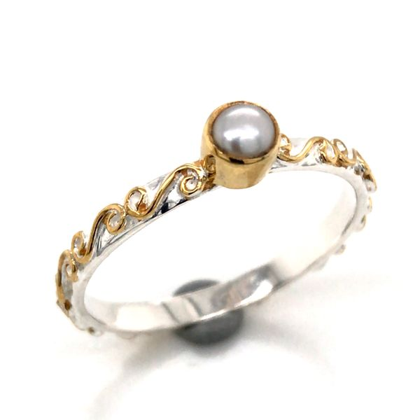 Silver & Gold Ring with Pearl- Size 7 Bluestone Jewelry Tahoe City, CA