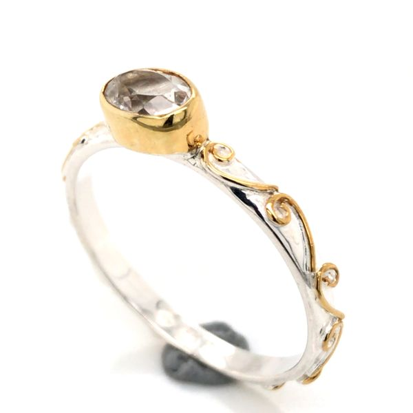 Silver & Gold Ring with White Topaz- Size 7 Image 2 Bluestone Jewelry Tahoe City, CA