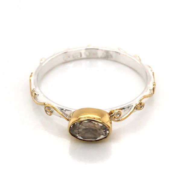 Silver & Gold Ring with White Topaz- Size 7 Image 3 Bluestone Jewelry Tahoe City, CA