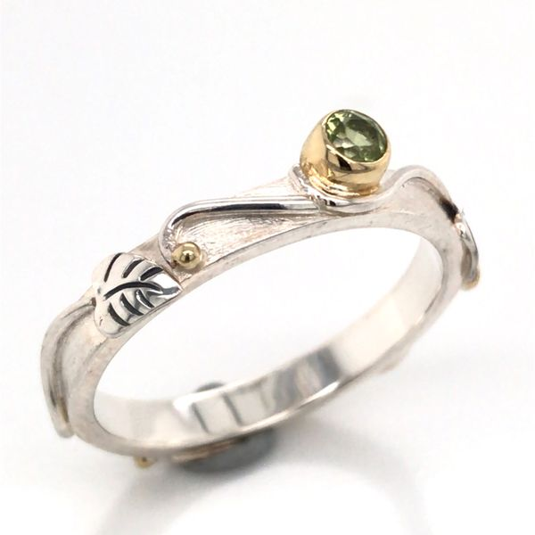 Silver & 22kt Yellow Gold Ring with Peridot- Size 7 Image 2 Bluestone Jewelry Tahoe City, CA