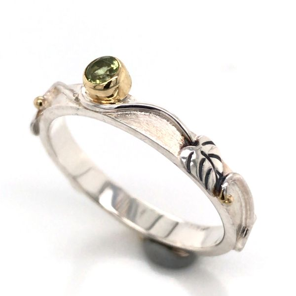 Silver & 22kt Yellow Gold Ring with Peridot- Size 7 Bluestone Jewelry Tahoe City, CA