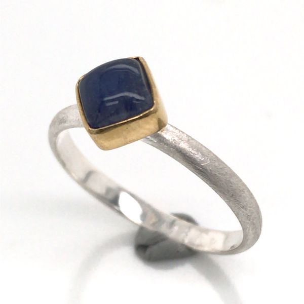 Silver with 22kt Yellow Gold Ring a Rainbow Blue Moonstone- Size 7 Image 2 Bluestone Jewelry Tahoe City, CA
