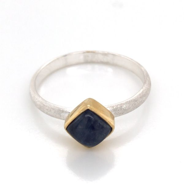 Silver with 22kt Yellow Gold Ring a Rainbow Blue Moonstone- Size 7 Image 3 Bluestone Jewelry Tahoe City, CA