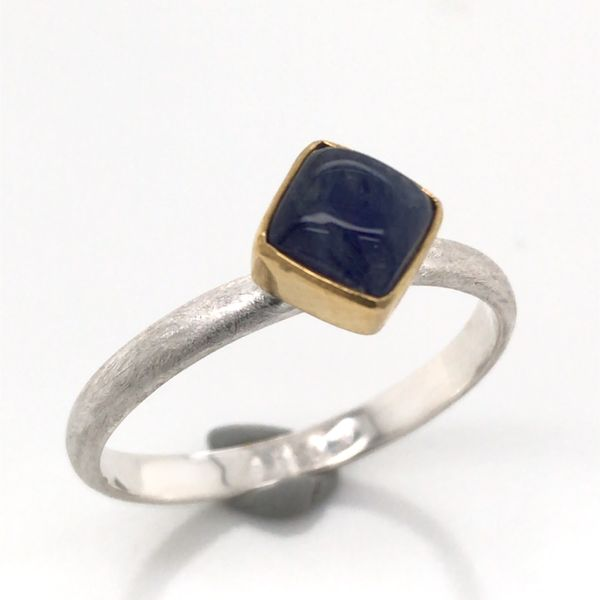 Silver with 22kt Yellow Gold Ring a Rainbow Blue Moonstone- Size 7 Bluestone Jewelry Tahoe City, CA