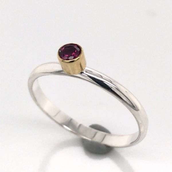 Silver with 22kt Yellow Gold Ring a Rhodolite Garnet - Size 7 Image 2 Bluestone Jewelry Tahoe City, CA