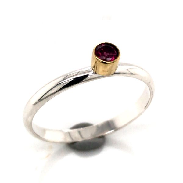 Silver with 22kt Yellow Gold Ring a Rhodolite Garnet - Size 7 Bluestone Jewelry Tahoe City, CA