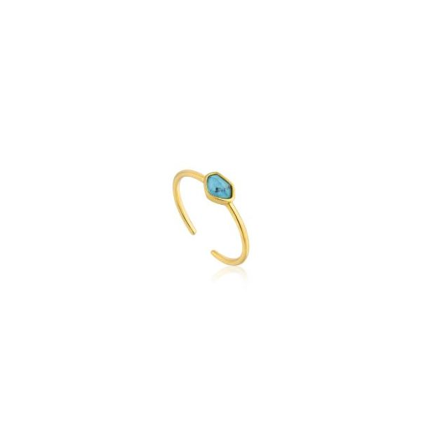 Gold Plated Adjustable Ring with Turquoise Bluestone Jewelry Tahoe City, CA