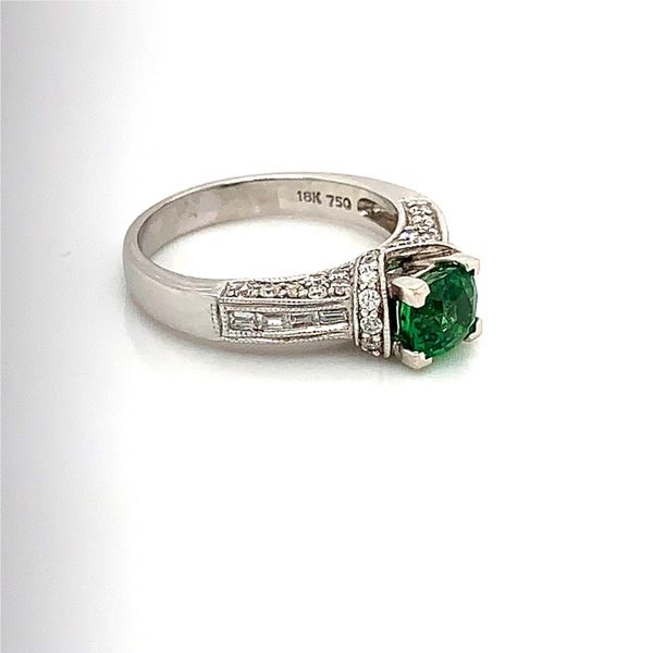 18 Karat White Gold Ring with 1.16 Carat Tsavorite Garnet and Diamonds Image 2 Bluestone Jewelry Tahoe City, CA