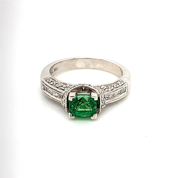 18 Karat White Gold Ring with 1.16 Carat Tsavorite Garnet and Diamonds Bluestone Jewelry Tahoe City, CA