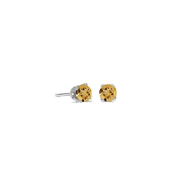 14 Karat White Gold 4mm Citrine Stud Earrings Bluestone Jewelry Tahoe City, CA