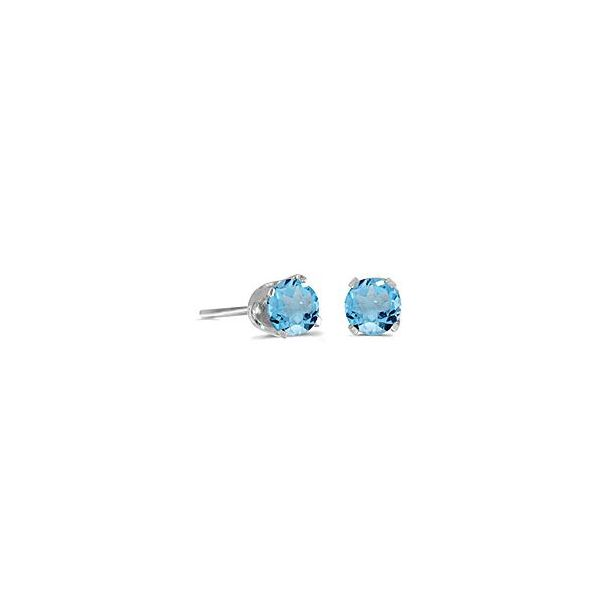 14K White Gold Stud Earrings with Round 5mm Blue Topaz Bluestone Jewelry Tahoe City, CA