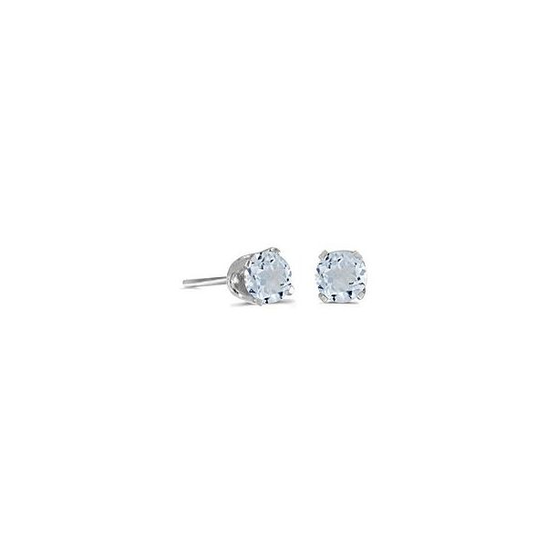 14 Karat White Gold 5mm Aquamarine Stud Earrings Bluestone Jewelry Tahoe City, CA